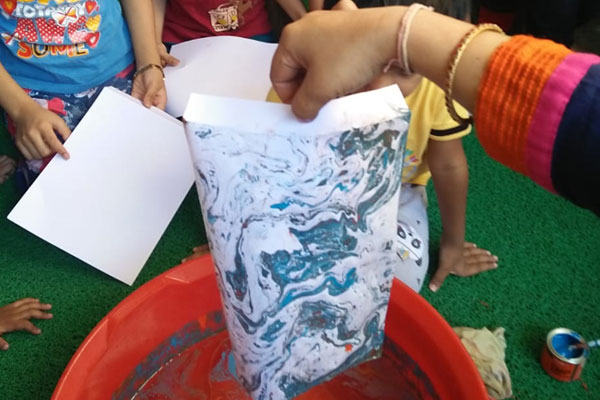 water art activity at mamata day care center